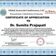 certificate of Appriciation for online Ayurvedic Teaching